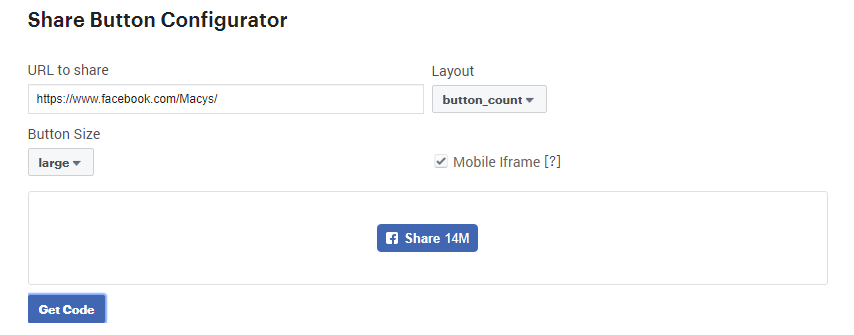 How do I add a FB share button to the top of each