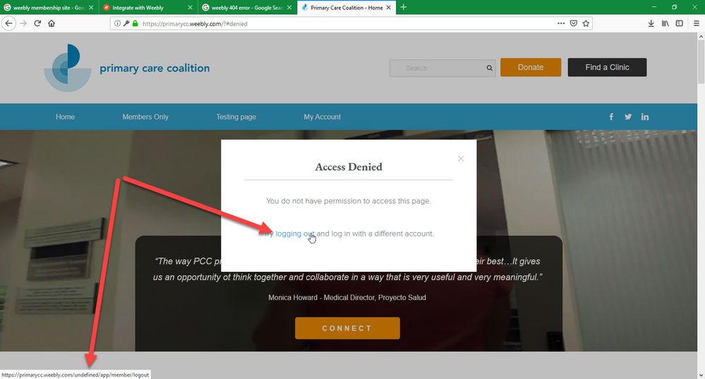 Member logout redirect to 404 page  - Weebly Community